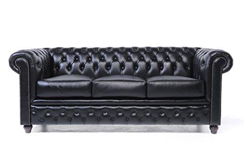 Original Chesterfield Sofas und Sessel – 1 / 1 / 2 / 3 Sitzer – Vollständig Handgewaschenes Leder – Schwarz
