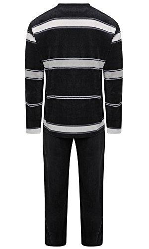 Pigiama invernale caldo da uomo, in pile, con maglia e pantalone black / grey (kavell) medium