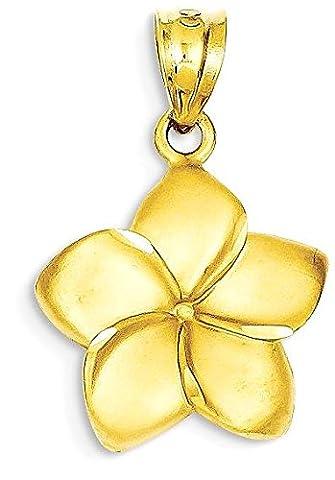 14k Yellow Gold Plumeria Floral Pendant Pendant