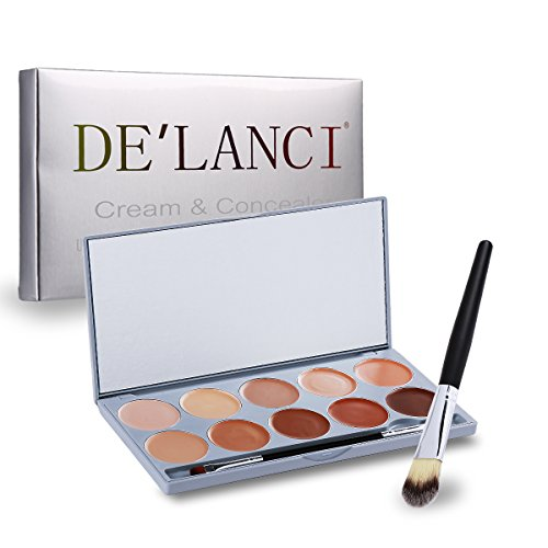Make-up Corrector (DE'LANCI 10 Farben Concealer Palette Kosmetik Make-up Creme Corrector Beauty Abdeckcreme Mit Multifunktions Powder Bronzer Make-up Pinsel)
