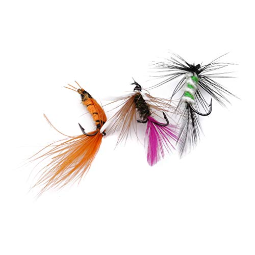 Kingus 10 stücke Künstliche Fliegen Köder Fliegenfischen Trockenen Insekt Köder Fliegen Haken Butterfly Tackle Realistische Angeln Zubehör, Slim bionic fliegen haken