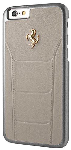 Ferrari FESEGHCP6BK Debossed Leder harte 488 Schutzhülle  mit Gold Logo für Apple iPhone 6/6S - 11,9 cm (4,7 Zoll) schwarz grau