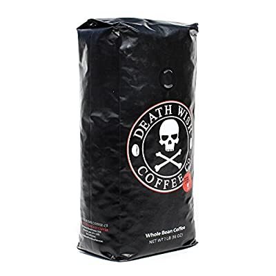 Death Wish Coffee, The World's Strongest Coffee, Whole Bean, Fair Trade, Organic, Shade Grown, 16 oz Bag from Death Wish Coffee Company