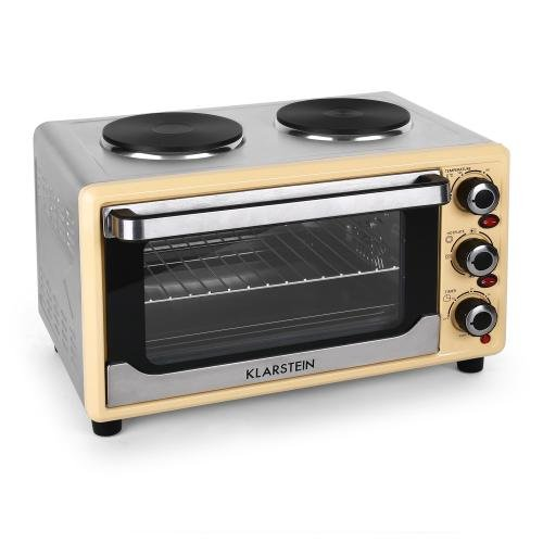 Klarstein Omnichef 23HW Mini Oven Multifunctional with Hot Plates 2 Hobs Convection & Rotisserie Function Versatile Mini Grill Easy-to-Clean (1500W, 23L, 3-Bays & 4 Heating Elements) Cream