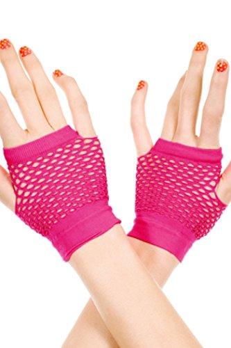 HO-Ersoka Damen Netz Handschuhe ohne Finger pink (Fishnet Pink)