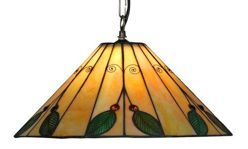 Oaks Lighting Tiffany-Hängelampe Leaf, 40,5 cm
