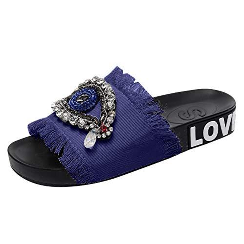B-commerce Sommer Damen Denim Slipers - Damen Mädchen Kristall Flache Strass Sandalen Hausschuhe Auf Breite Strandschuhe