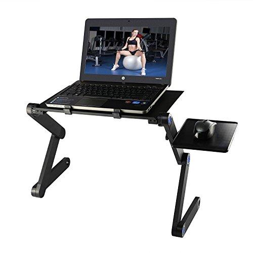 Diswoe Pliable Portable Bureau Pliant PC Stand Table D'ordinateur avec Multi-Angle Jambes Souris Plate-Forme et Anti-Slip Bar