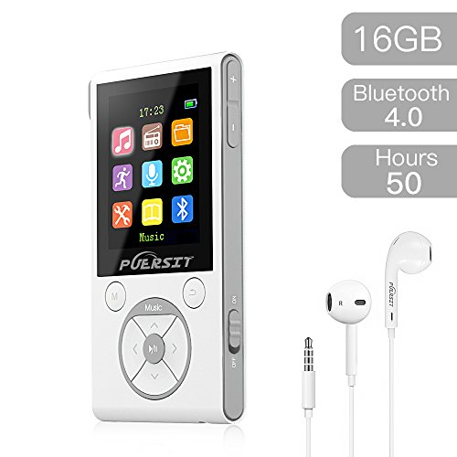 16GB MP3 Player,HiFi Bluetooth MP3 Player 50 Hours Playback Portable Music Player Lossless Sound Media Player By Puersit (White + Silver)