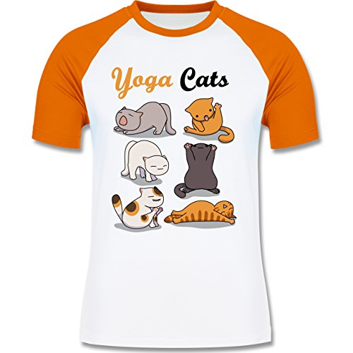 Shirtracer Statement Shirts - Yoga Cats - Herren Baseball Shirt Weiß/Orange