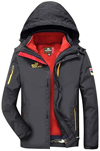 JIINN Herren Winter Softshell Multifunktions Outdoor wasserdicht dick warme Jacke Double Layer Parka...