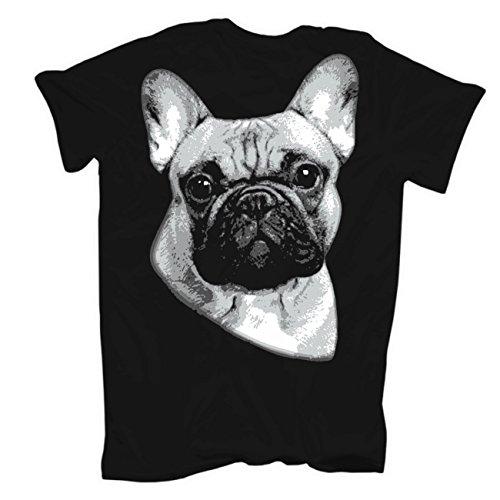 Männer und Herren T-Shirt Französische Bulldogge (mit Rückendruck) Schwarz  ... 97a1677caf