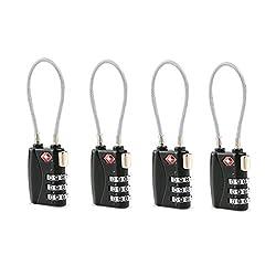 OULII TSA zugelassene Kabel Gepäck Sicherheitsschlösser 3-stellige Zahlenkombinationsschlösser Vorhängeschlösser Password sperrt Vorhängeschlösser - 4ST (schwarz)