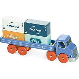 Vilac–2358–Camion–Giocattolo in legno con punta magnetica, Modelli/Colori Assortiti, 1 Pezzo