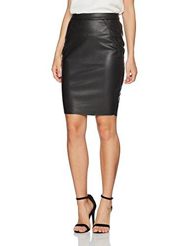 VERO MODA Damen Rock Vmninea HW PU Abk Skirt Black Noos, Schwarz (Black), 42 (Herstellergröße: XL)
