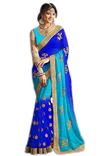 Sarees Corner Women's Georgette With Blouse Piece (Sareesâ New Collection Low-Blue Coding-N)