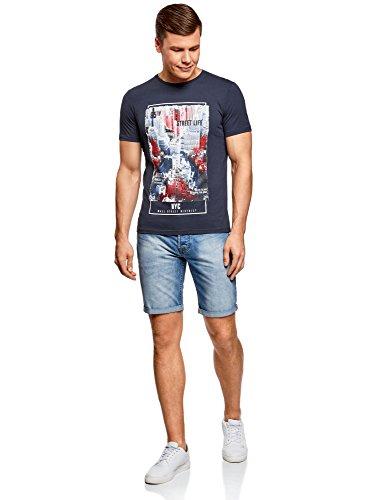oodji Ultra Herren Tagless Baumwoll-T-Shirt mit Druck Blau (7945P)