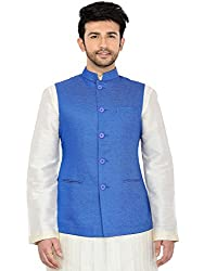 Manyavar Blue Nehru Jacket (Large)