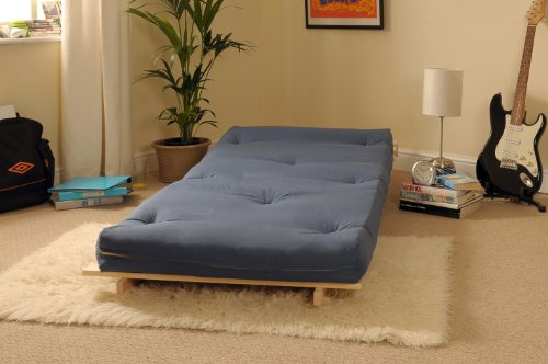 2ft6 Small Single Wooden Futon Set with NAVY Mattress