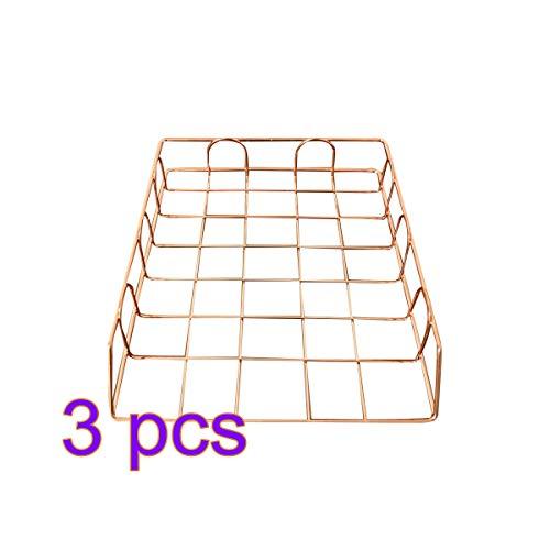 Vosarea Dokumenten Ablage Metall Stapelbar Schreibtisch Organizer für Schule Büro Zuhause 3 Stück (Rose Golden)
