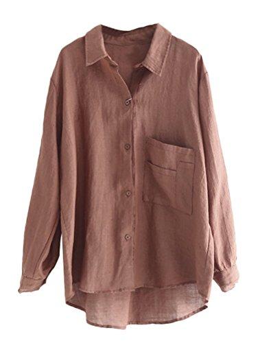 MatchLife Damen Bluse Leinen Elegant Langarm Casual Oberteil Lose Langarmshirt Tunika Hemd mit Taschen Kaffee L(Fit EU38-42) - Leinen Bluse Top