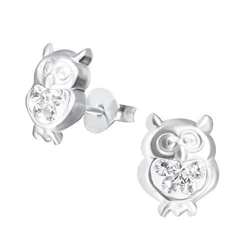 Laimons Mädchen Kids Kinder-Ohrstecker Ohrringe Kinderschmuck Eule Vogel Kauz Küken Tier Glitzer weiß aus Sterling Silber 925