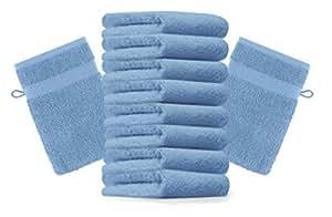 10er Pack Waschhandschuhe Waschlappen Premium Größe 16x21 cm Farbe Hell Blau Kordelaufhänger 100% Baumwolle