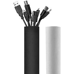 JOTO Cache-Câble 330CM, Réversible en 2 Face Noir et Blanc, Rangement de Câble en Néoprène Cacher Les Fils Gaines, Organisateur pour Câbles Électriques, Bureau Maison-Diamètre-3.8 cm