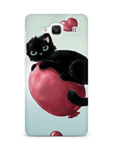 Amez designer printed 3d premium high quality back case cover for Xiaomi Redmi 2 (Cute kitty floating on heart baloons)