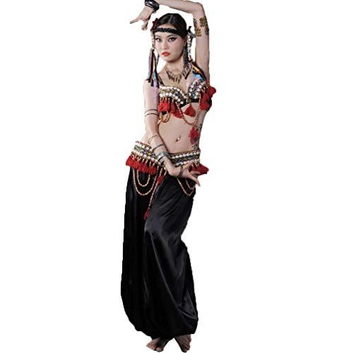 CX Damen Bauchtanzkostüm Tribal Ethno Tanzanzug Set , BH/Fringe/Hose 3tlg (Farbe : Schwarz, größe : ()