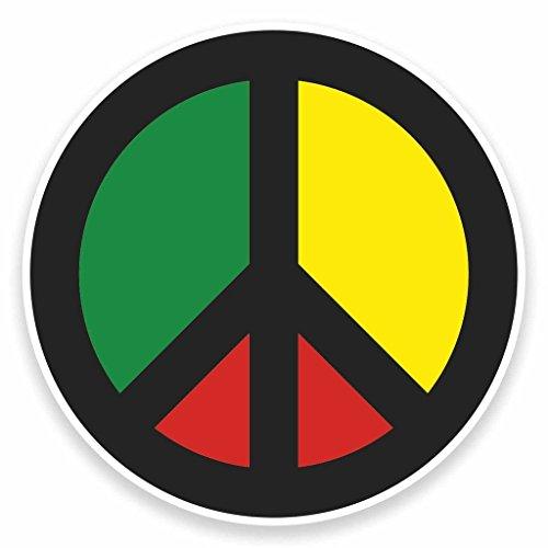 2 x 15cm/150mm Rasta Peace Symbol JamaikaVinyl SELBSTKLEBENDE STICKER Aufkleber Laptop reisen Gepäckwagen iPad Zeichen Spaß #9480 (Rasta Peace-zeichen)
