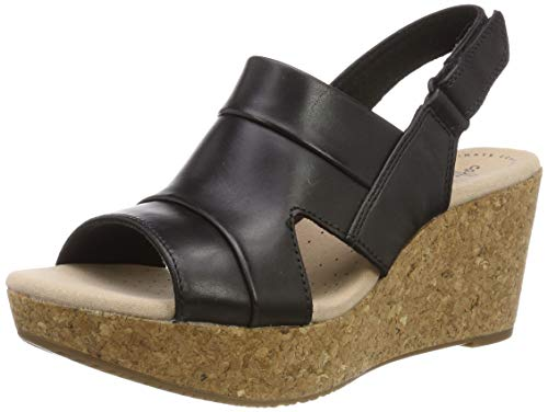 Clarks Damen Annadel Ivory Slingback Sandalen, Schwarz (Black Leather), 37.5 EU (Clark Frauen Schuhe Für Black)