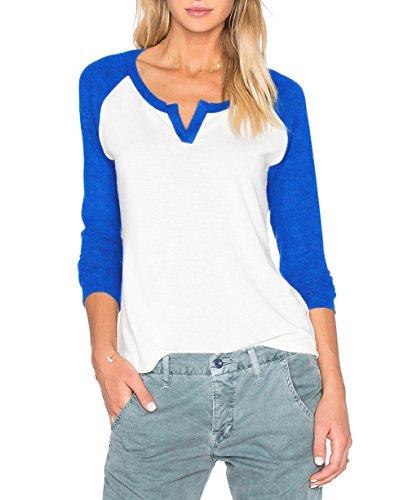 Beiläufige tshirt Damen Langarm V Ausschnitt Kontrast Hemd Shirt Blusen Top (EU 40/XL, Königsblau) (Raglan-motorrad)