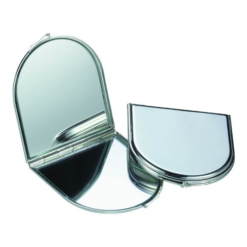 Miroir de poche, style fenêtre arquée, compact, double, en plaqué argent