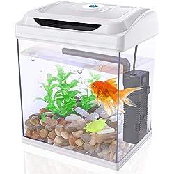 DADYPET Mini Aquarium Combattant, Aquarium Betta à LED avec Plantes et Galets, 3,8L
