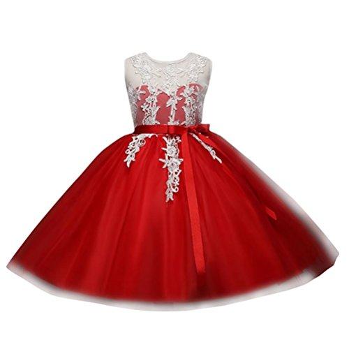 Byste bambino ragazze ricamo senza schienale cerniera vestito tutu vestito da principessa compleanno nozze damigella d'onore formale vestito outfits abiti (rosso, 4 anni)