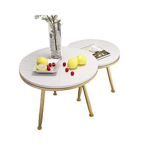 BinLZ-Table Industrielle Nesting Couchtische Set 2 Ende Beistelltische Holz mit Metallbeinen für Wohnzimmer Balkon, c -