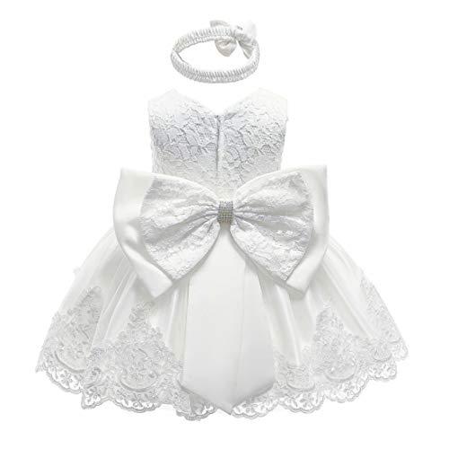 Ukrain 2 Stück Baby Mädchen formales Kleid ärmellos Spitze Schleife Geburtstag Hochzeit Tutu Kleid mit Stirnband Outfits Gr. 0-3 Monate, weiß -