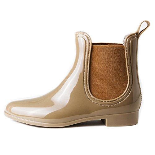 1ee49bccf8d76a ... Damen Schlupf Gummistiefel Chelsea Boots Lack Stiefeletten Khaki ...