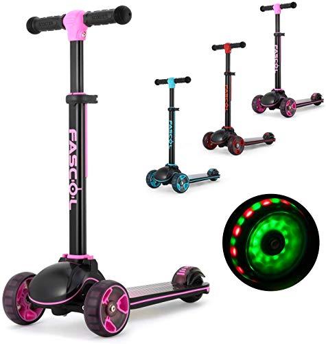 Fascol Kinderroller Klappbar Roller Scooter ab 3-12 Jahre Kinderscooter mit LED Räder Tretroller Belastbarkeit bis 60 kg (Lila Rosa)