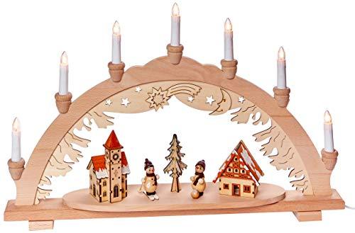 Unbekannt Sigro Vogtland Souvenir 7Flame Premium Holz Lichterbogen mit Schneemann Town Fensteraufkleber, beige, 38x 57x 9cm