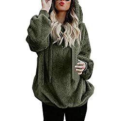 Mujer Sudadera Caliente y Esponjoso Tops Chaqueta Suéter Abrigo Jersey Mujer Otoño-Invierno Talla Grande Hoodie Sudadera con Capucha riou (1-Pink, XXL)