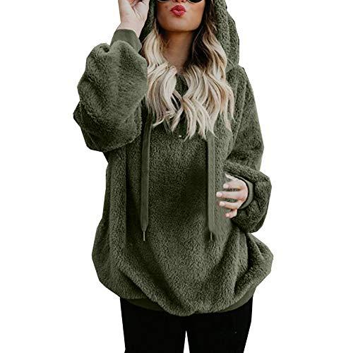 TianWlio Damen Hoodie Frauen Langarm Hoodie Mode Langarm Herbst Winter Hooded Sweatshirt Mantel Winter warme Wolle Reißverschluss Taschen Baumwolle Mantel Outwear (Armeegrün, 3XL)