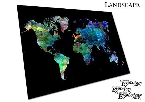 Weltkarte Aquarell Europa Asien Amerika Afrika - a1 (Aquarell-poster)