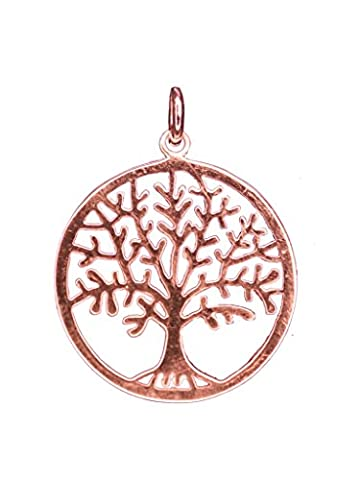 ANTOMUS® 18K ROSE GOLD VERMEIL SOLID STERLING SILVER TREE OF LIFE YGGDRASIL PENDANT 25mm (£2 COIN SIZE)