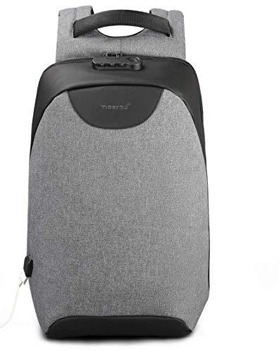 Rucksack, diebstahlsicher, leicht, Wanderrucksack, atmungsaktiv, Grau + Schwarz
