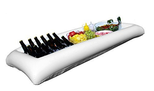 Large White Inflatable Serving Bar Buffet Cooler With Drain Plug - perfect blow up server caddy to keep food salad and drinks cold - great for outdoor and indoor parties by Oaklyn -