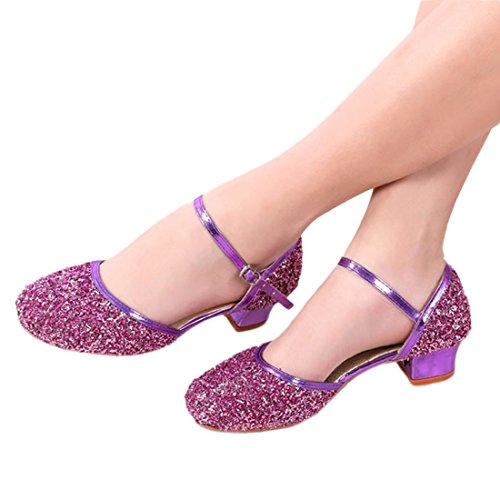 YIBLBOX Mädchen Stöckelschuhe Prinzessin Schuhe Kinder Latein Schuhe mit Weiche Sohlen 26-41