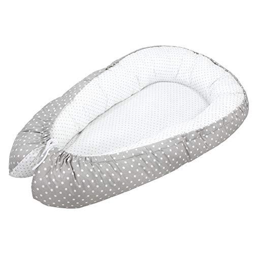 TupTam Baby Multifunktionales Kuschelnest 2-seitig, Farbe: Tupfen Weiß/Tupfen Grau, Größe: ca. 85 x 55 cm
