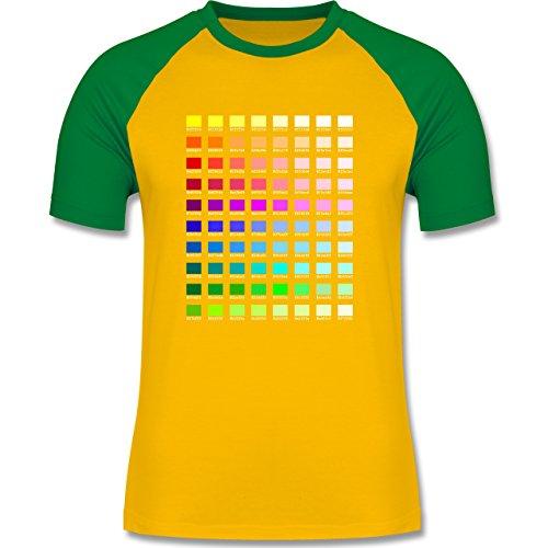 Nerds & Geeks - Farbtabelle - HEX - zweifarbiges Baseballshirt für Männer Gelb/Grün